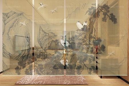 décoration d'intérieur chambre d'hôtel style oriental cloison japonaise vintage toile semi-transparente suspendue motif imprimé HD oiseau mythique grue à couronne rouge ton sépia