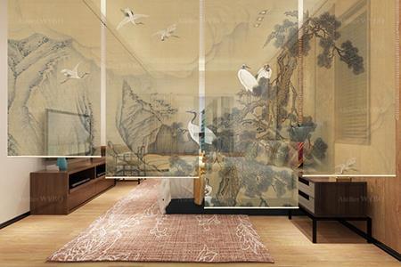 Décoration chambre japonaise zen rideau séparatif structure légère cloison amovible toile translucide suependue hauteur réglable grue du Japon arbre de pin montagne nuage effet sépia