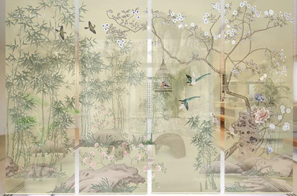 décoration d'intérieur maison japonaise couleur pastel rideau séparatif toile imprimée HD cloison japonaise amovible paysage zen avec bambou pivoine fleurs de poirier et oiseaux de printemps