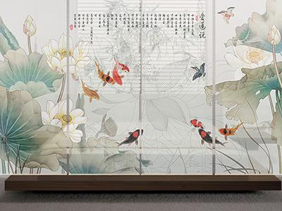 Cloison japonaise dans une chambre à coucher,espace est séparé en deux par ces toiles artistiques très élégantes,coin dodo paisible et intime,séparation amovible toile imprimée enrouleur facile à installer,fabrication sur mesure