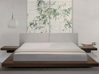 décoration d'intérieur chambre à coucher tout blanc style japonais minimalisme mobilier simple bambou dans jardin
