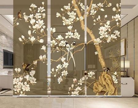 toile paravent imprimée magnolia et oiseau,toile paravent imprimée sur mesure,toile semi-transparente imprimée sur mesure,paravent asiatique sur mesure,paravent japonais fleur et oiseau,paravent chinois zen magnolia oiseau,toile paravent marron semi-transparent,panneau japonais zen semi-transparent,panneau chinois magnolia et oiseaux,cloison mobile semi-transparente,cloison mobile toile imprimée,toile imprimée fleurs et oiseaux fond marron,tissu transparent imprimé fleur et oiseau