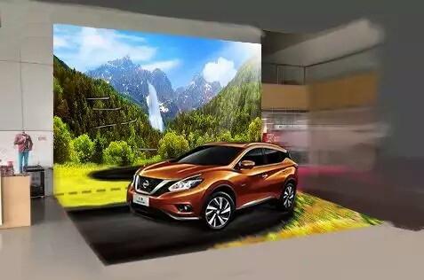 simulation décor, décoration centre commercial, exposition de voiture, papier peint personnalisé, tapisserie sur mesure, revêtement sol sur mesure