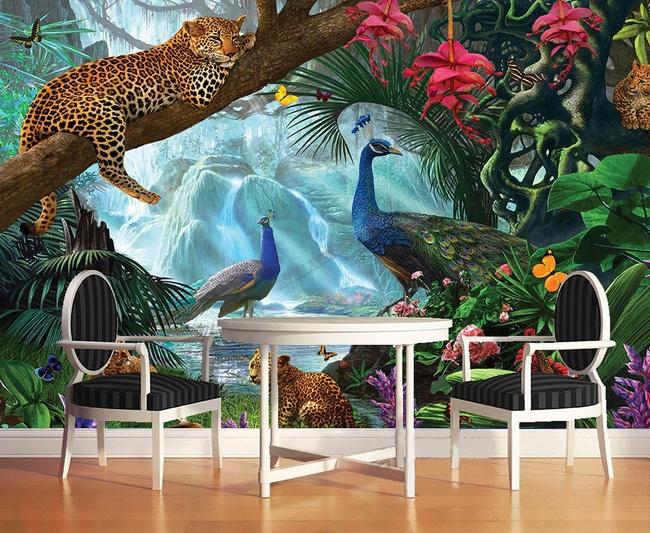 panthère,paon,papier peint,jungle,papier peint personnalisé,papier peint jungle,papier peint tropical,poster panthère,poster jungle,sticker paon,sticker panthère,tapisserie tropicale,tapisserie fleur tropicale,tête de lit jungle
