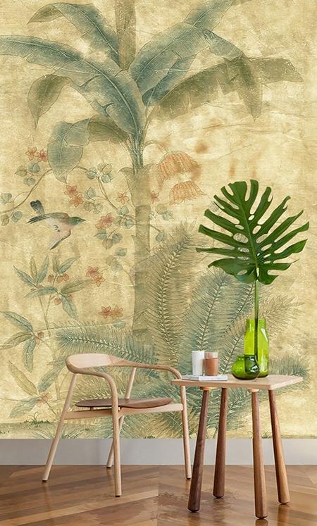 tapisserie tropicale en soie un seul tenant bananier oiseau s pia papier peint sol 3d. Black Bedroom Furniture Sets. Home Design Ideas