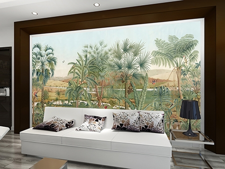 poster xxl paysage panoramique jardin tropical oiseau papier peint sol 3d. Black Bedroom Furniture Sets. Home Design Ideas