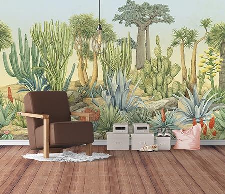 tapisserie en soie panoramique paysage savane papier peint arbre plante d sert papier peint sol 3d. Black Bedroom Furniture Sets. Home Design Ideas