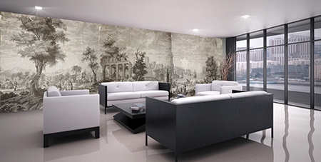 tapisserie fresque murale paysage panoramique grisaille. Black Bedroom Furniture Sets. Home Design Ideas