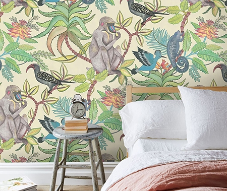 Achat Sticker Mural Jungle Singe Tropical Oiseau Exotique   Papier