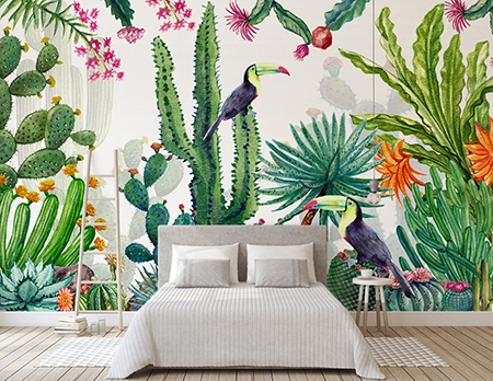 tapisserie design d 39 artiste plante oiseau tropical cactus. Black Bedroom Furniture Sets. Home Design Ideas