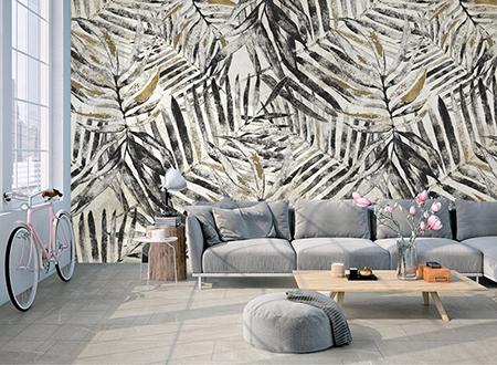 Panneau Mural Imprime Tropical Palmier Niveau De Gris Papier Peint