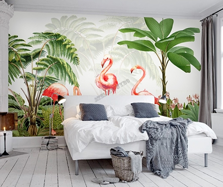 papier peint panoramique sur mesure poster g ant xxl oiseau tropical les flamants roses. Black Bedroom Furniture Sets. Home Design Ideas