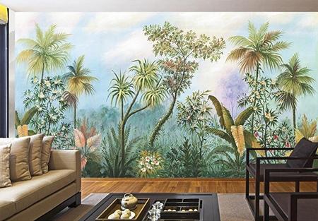 tableau de peinture classique for t tropicale papier peint panoramique plantes et fleurs. Black Bedroom Furniture Sets. Home Design Ideas