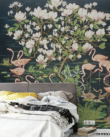 papier peint d 39 artiste tapisserie vintage fleur oiseau sur fond noir. Black Bedroom Furniture Sets. Home Design Ideas