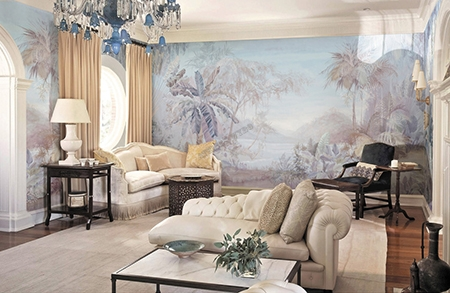 paysage jungle xxl salon s pia grisaille bleu vert papier peint sol 3d. Black Bedroom Furniture Sets. Home Design Ideas