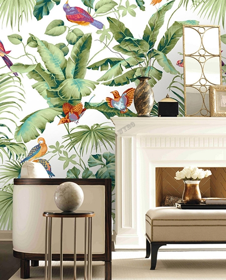 papier peint,oiseau tropical,bananier,palmier,papier peint tropical,papier peint jungle,papier peint oiseau,papier peint illustration,papier peint personnalisé,papier peint panoramique,tapisserie oiseau tropical,tapisserie bananier,tapisserie palmier,tête de lit tropical,poster salon tropical,sticker salle de bain bananier