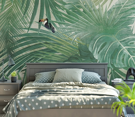 papier peint plante tropicale t te de lit feuille palmier oiseau exotique papier peint sol 3d. Black Bedroom Furniture Sets. Home Design Ideas