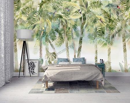 Décor Panoramique Tropical Tapisserie Jungle Palmier Oiseau Papier