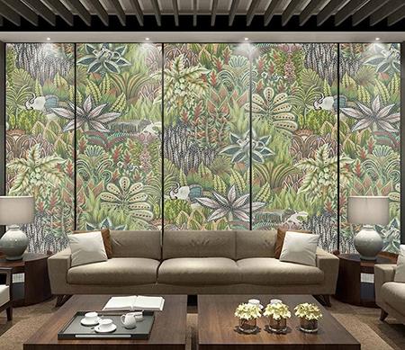 Poster Geant Plante Animaux Jungle Elephant Singe Cocotier Papier