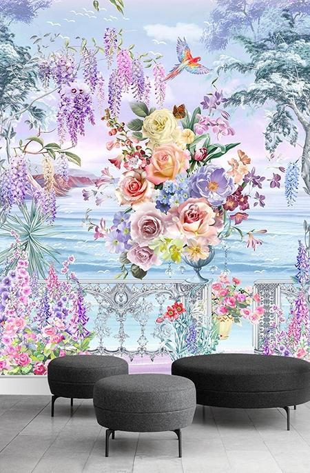 papier peint féerique jardin floral balcon,papier peint floral paysage mer,papier peint fantaisie balcon fleuri,papier peint tropical fleur perroquet,papier peint bouquet de fleur glycine,papier peint fleuri glycine rose,tapisserie florale glycine rose orchidée,tapisserie paysage féerique fleur perroquet,panneau vertical glycine bouquet de fleurs,tête de lit verticale bouquet de fleurs glycine perroquet,poster géant féerique glycine rose,poster chambre bouquet de fleur perroquet glycine,panneau mural étanche imprimé fleur oiseau