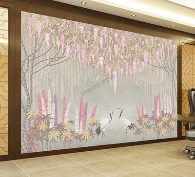 papier peint japonais grue glycine libellule,papier peint japonais fleur et oiseau grue,papier peinr d'artiste zen grue du japon glycine,tapisserie soie imprimée grue japonaise glycine,papier peint japonais textile fleur oiseau,tapisserie japonaise lé unique grue saule pleureur,poster salon japonais grue saule pleureur glycine