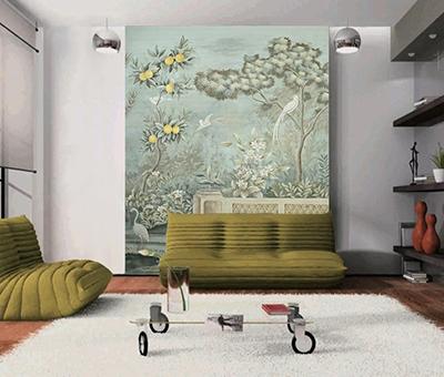 papier peint d'artiste vintage jardin oiseau,papier peint intissé œuvre d'artiste citronnier oiseau blanc,papier peint chambre vert pastel fleur oiseau,tapisserie salon citronnier fleur oiseau blanc,tête de lit vert gris jardin fleur citronnier oiseau,panneau d'artiste vert pastel fleur et oiseau jardin citronnier