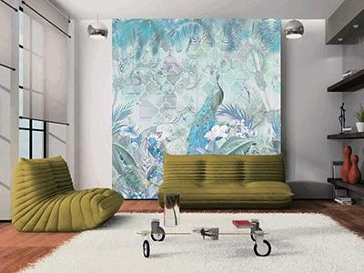 papier peint d'artiste tropical paon,papier peint intissé panoramique jungle paon,tapisserie tropicale paon palmier orchidée,poster géant séjour jungle paon fleur,sticker mural paon palmier bananier perroquet fleur,panneau mural jungle paon cage à oiseaux orchidée papillon