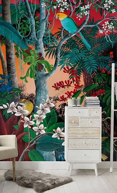 achat papier peint intissé rouge,papier peint tropical perruche orchidée,papier peint jungle ton rouge orangé fleur oiseau exotique,papier peint vertical jungle fougère orchidée oiseau coloré,tapisserie murale tissu imprimé paysage jungle fleur oiseau exotique,poster géant salon perruche orchidée fougère palmier,panneau mural tropical fond rouge orangé fleur oiseau jungle