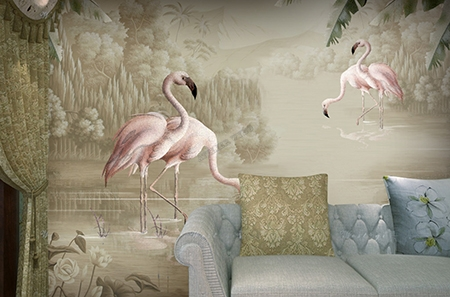 poster g ant mural s pia flamant rose lac jungle bananier papier peint sol 3d. Black Bedroom Furniture Sets. Home Design Ideas