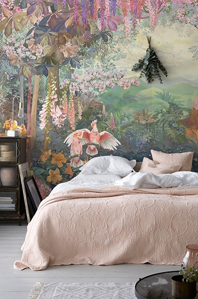 papier peint d'artiste jungle coloré peint à la main,reproduction papier peint œuvre d'artiste paon perroquet flamant rose,tapisserie florale séjour glycine magnolia paon blanc,poster géant salon fleur tropicale paon perroquet flamant rose,panneau mural jungle orchidée glycine paon perroquet,sticker mural xxl paysage tropical fleur exotique paon flamant rose
