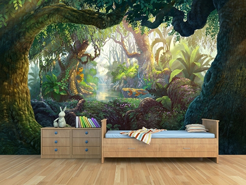 papier peint photo personnalis paysage fantaisie dans la jungle papier peint sol 3d. Black Bedroom Furniture Sets. Home Design Ideas