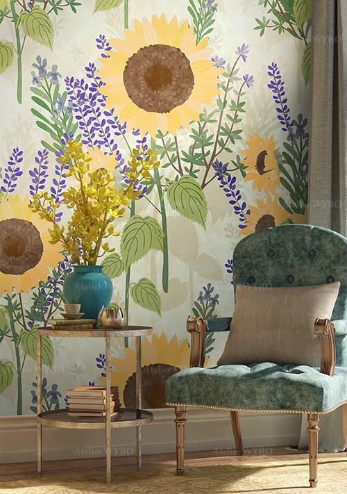 achat papier peint personnalisé motif floral,tapisserie murale sur mesure design campagne fleur jaune de tournesol herbes aromatiques fleurs violettes,poster géant chambre séjour champs de tournesol romain lavande