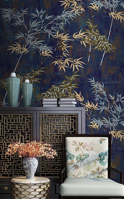 Acheter papier peint asiatique intissé sur mesure bambou,tapisserie murale japonaise bleu et doré bambou motif peint à la main,panneau chinois vintage plante zen séjour salle à manger chambre à coucher confection sur mesure