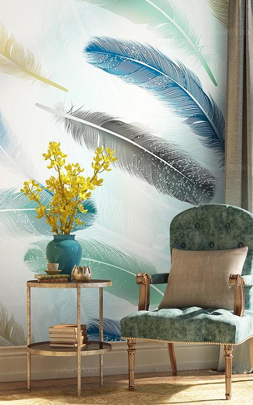 achat papier peint intissé personnalisé séjour salon chambre motif plume ton vert paster,tapisserie murale couleur légère showroom bureau design campagne dessiné à la main plume bleu jaune vert noir