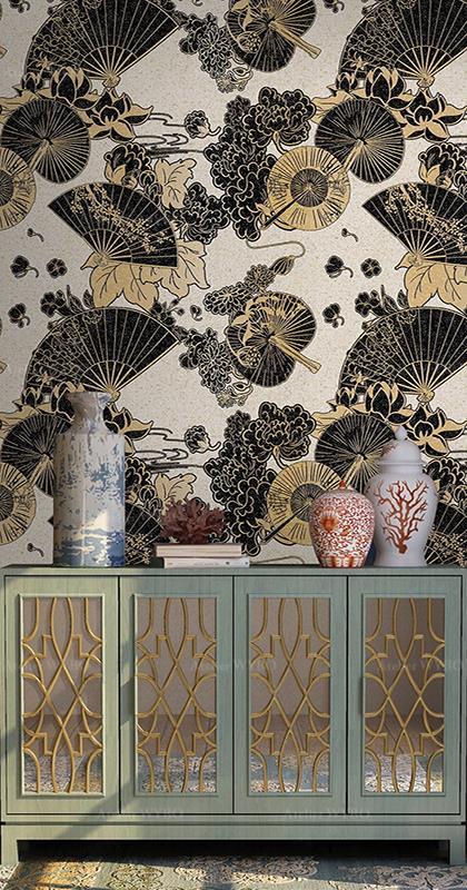 acheter papier peint japonais traditionnel couleur gris et noir séjour chambre motif lotus éventail format personnalisé,tapisserie murale aspect ancien en fil de soie un seul morceau design oriental zen l'ombrelle pivoine chrysamthème fond beige