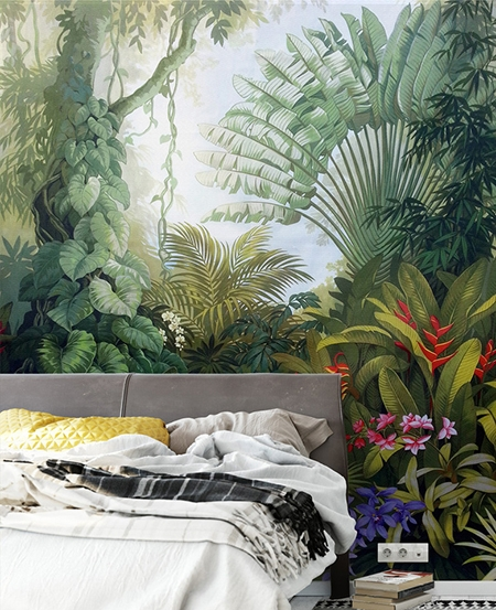 papier peint d 39 artiste tapisserie classique mur v g tal paysage de la jungle papier peint sol 3d. Black Bedroom Furniture Sets. Home Design Ideas