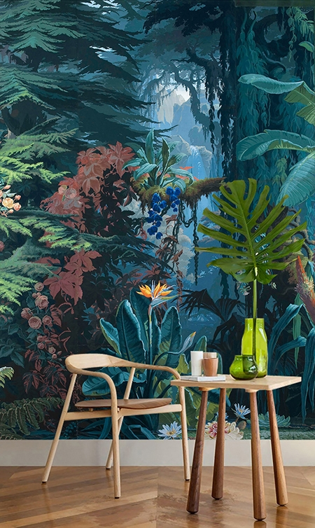 tableau de peiture paysage tropical papier peint design tapisserie panoramique la for t de la jungle. Black Bedroom Furniture Sets. Home Design Ideas