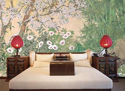 Papiers peints chinois bambou,peinture asiatique zen fleur rose,tapisserie  jardin chinois cerisier faux rocher neige,papiers peints fleur bambou fond beige,panneau chinois bambou calligraphie séjour,revêtement mural asiatique fleur