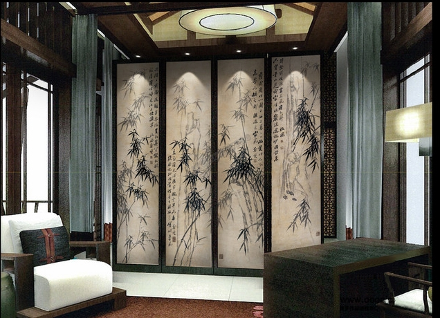 tapisserie asiatique ancienne peinture l 39 encre de chine les bambous et calligraphie en noir et. Black Bedroom Furniture Sets. Home Design Ideas