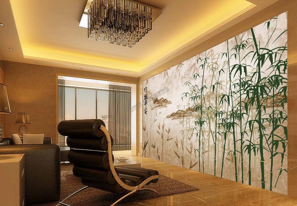 Papier peint asiatique personnalisable paysage bambou for Salon avec papier peint