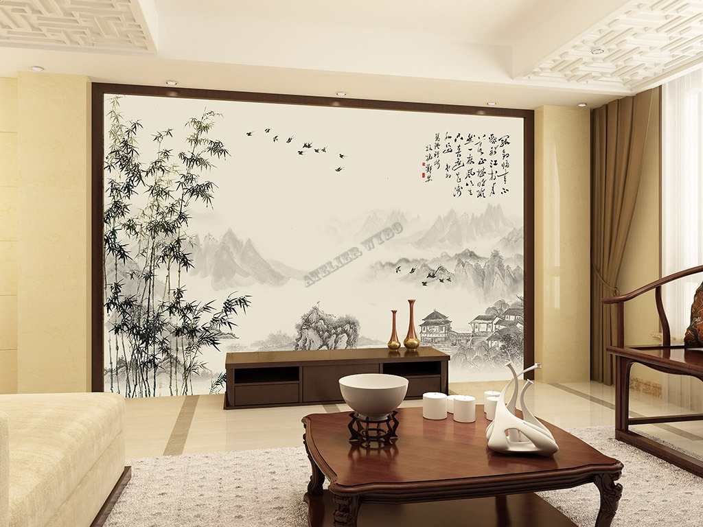 papier peint chinois chinese wallpaper paysage avec les. Black Bedroom Furniture Sets. Home Design Ideas