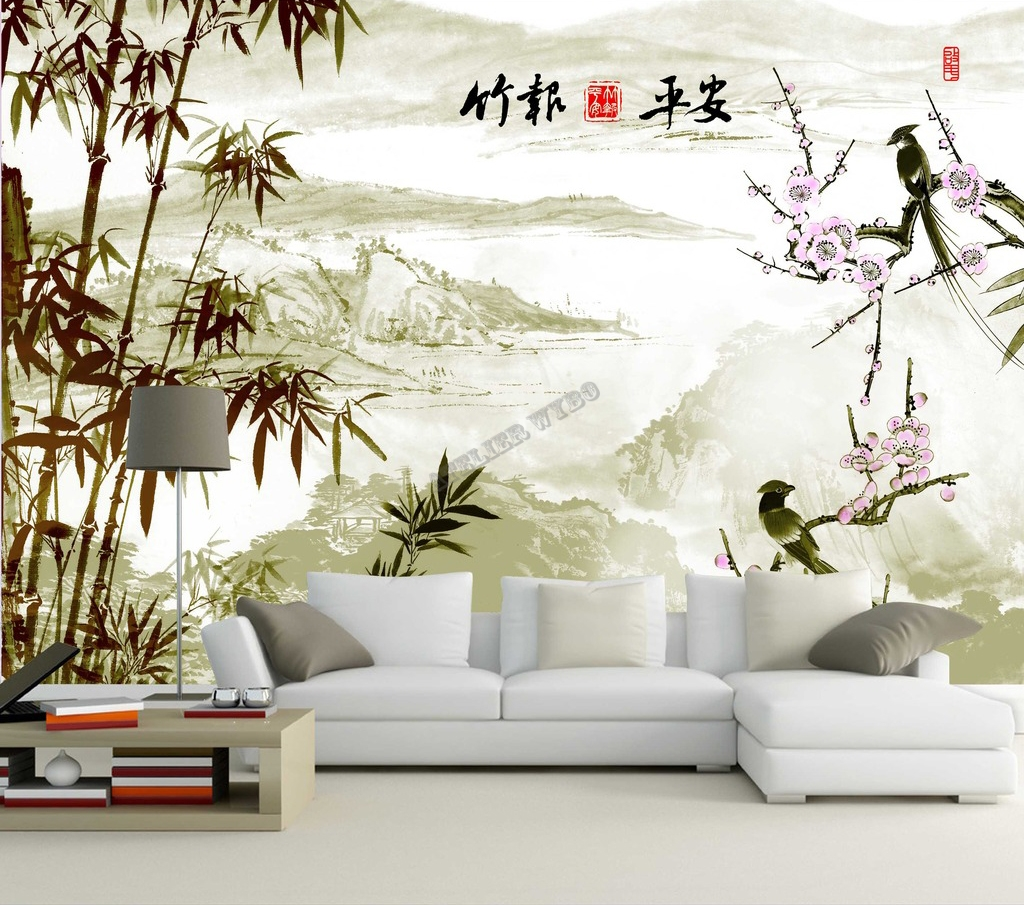 chinese wallpaper paper peint chinois personnalisable les bambous papier peint sol 3d. Black Bedroom Furniture Sets. Home Design Ideas
