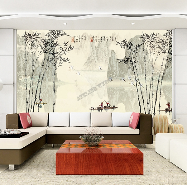 chinese wallpaper bamboo papier peint chinois personnalisable tapisserie num rique bambou. Black Bedroom Furniture Sets. Home Design Ideas