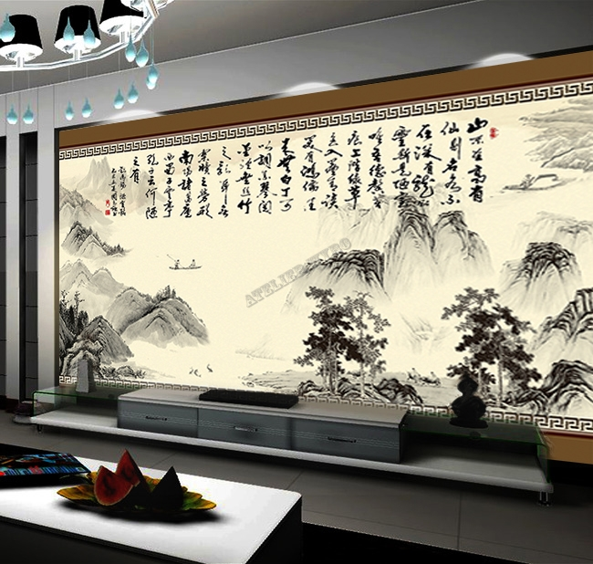 tapisserie num rique sur mesure style chinois paysage et calligraphie. Black Bedroom Furniture Sets. Home Design Ideas