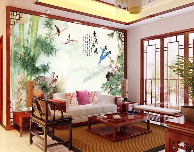 tapisserie num rique papier peint chinois personnalis paysage avec les bambous et les oiseaux. Black Bedroom Furniture Sets. Home Design Ideas