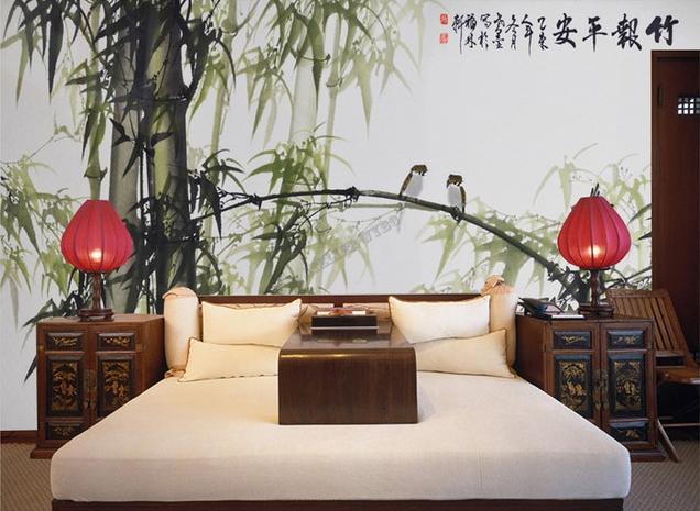 peinture l 39 encre de chine papier peint asiatique sur mesure les bambous et les oiseaux. Black Bedroom Furniture Sets. Home Design Ideas