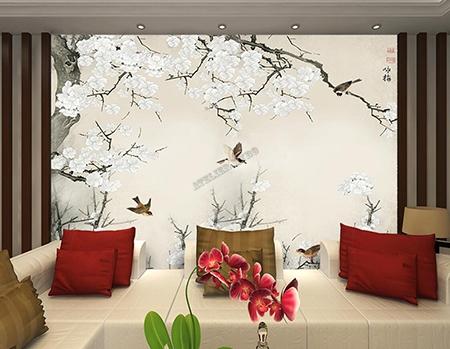 Tapisserie murale japonaise fleur oiseau,peinture chinoise fleurs et oiseaux,peinture japonaise fleurs et oiseaux,papier peint japonais fleur oiseau,papier peint beige,papier peint zen japonais,poster géant zen chinois,fleur l'abricotier du japon,tapisserie fleur blanche oiseau,tapisserie soie imprimée beige