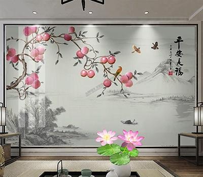 vente papier peint intissé paysage panoramique chinoiserie personnalisé Atelier WYBO,tapisserie murale soie imprimée séjour chambre salle à manger paysage gris pomme rose oiseau,panneau chinois tissu imprimé sur mesure paysage paisible niveau de gris pommier avec pomme rose et oiseaux style compagne