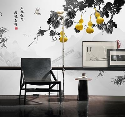 vente papier peint chinoiserie sur mesure noir blanc et or plante grimpante de cougourdon,acheter papier peint intissé asiatique zen personnalisé pour séjour peinture à l'encre paysage en noir et blanc feuille fruit doré,tapisserie japonais panoramique chambre paysage zen en noir et blanc cougourdon doré