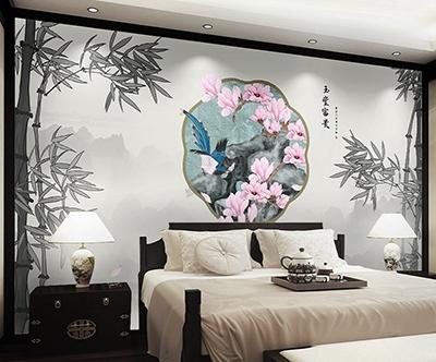 décoration chambre d'hôtel tête de lit panoramique chinoiserie paysage grisaille bambous magnolia et oiseau,papier peint intissé chinois issu d'une peinture à l'encre paysage et bambou ton gris fleur rose oiseau bleu sur rocher